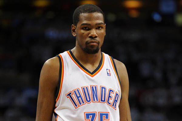 Oklahoma City Thunder forward Kevin Durant is on the move.