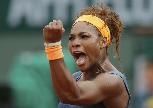 Serena Williams reacts during her women's singles final match against Maria Sharapova at the French Open.