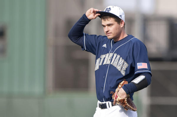 Notre Dame's Trey Mancini during the game against Seton Hall at Coveleski Stadium.