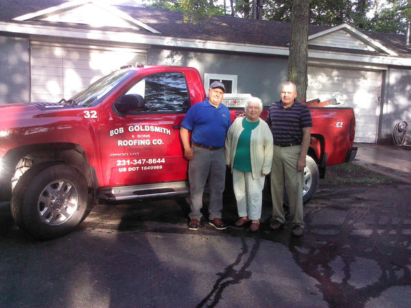 Opal Goldsmith and her sons, Ken and Ed, this year celebrate the 50th anniversary of the business their late husband/father launched, Bob Goldsmith & Sons Roofing, of Petoskey.