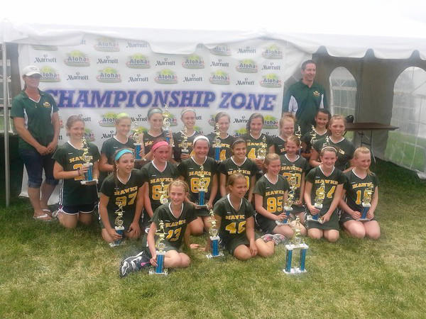 The Jarrettsville Hawks 11-12 B girls lacrosse team, went 6-0 over last weekend at the Timonium Fairgrounds Lax Splash Tournament to win the championship. Players pictured and listed in alphabetical order; Lexi Barlow, Julia Barstow, Clare Boone, Taylor Diem, Audrey DiVenti, Sarah Dudick, Sammy Edwards, Jodi Everett, Megan Halczuk, Kathryn Hodges, Allie Hoppa, Kayla Jones, Olivia Kenny, Kate Kettell, Molly Lynch, Cassie Rickey, Peyton Shima and Eden Sterner. Coaches pictured are Tammy Dudick and Tim Rickey. Coach Mike Lynch is not pcitured.