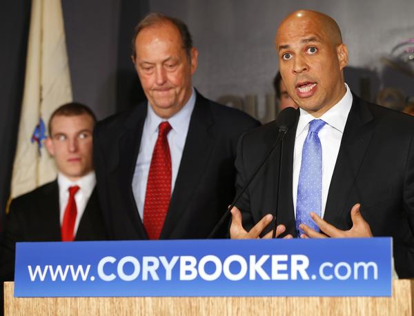 Newark Mayor Cory Booker announces his plans Saturday to run for the U.S. Senate seat that opened with the death of Frank Lautenberg.