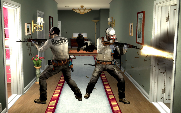 "Screen shot from video game ""Payday: The Heist."""