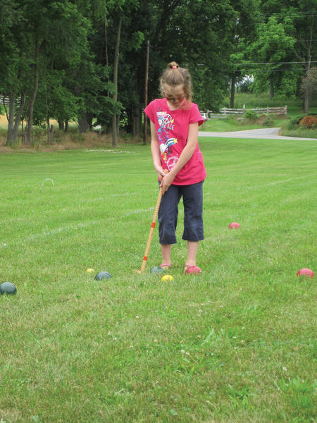 Leah Henry, 9, plays croquet Saturday during the eighth annual Scoops and Wickets event on the grounds of Brook Lane Health Services near Leitersburg.
