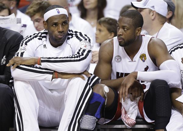 LeBron James, left, Dwyane Wade and the rest of the Miami Heat could be in big trouble if they lose the second of two home games to start their NBA Finals series against the San Antonio Spurs.