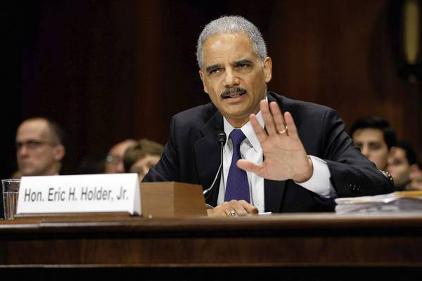 Attorney General Eric Holder testifies last year at a congressional hearing on his Operation Fast and Furious fiasco. His more recent fiasco involves unwarranted searches aimed at news media people.
