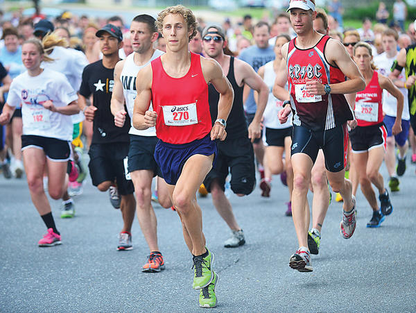 Tony Clement (270) leads the way at the start of the Nick Adenhart Memorial 5K on Saturday morning in Williamsport