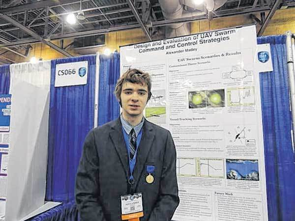 Alex Madey from Trinity School at Greenlawn presented his project at the Intel International Science Fair.