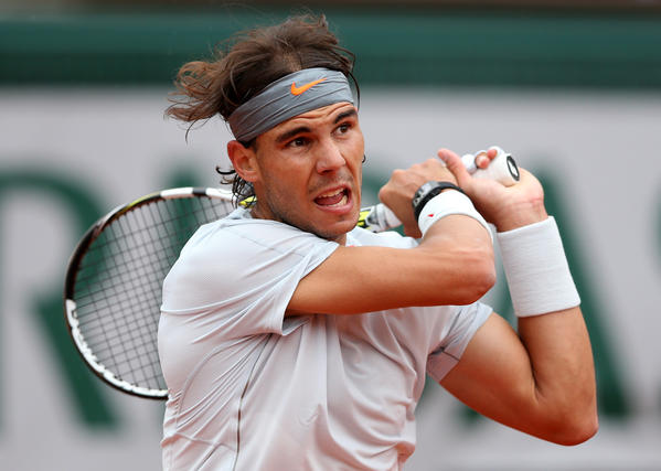 Rafael Nadal of Spain plays a backhand during the French Open final.