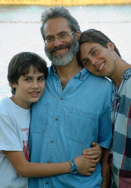 An eight-year-old photo of father and sons. Ralph Boas flanked by Toby (left) and Tim Boas