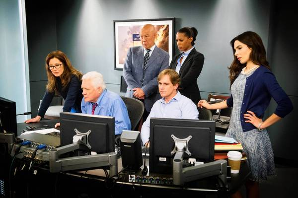 "Mary McDonnell, left, G.W. Bailey, Michael Paul Chan, Phillip P Keene, Kearran Giovanni and Nadine Velazquez in ""Major Crimes."""