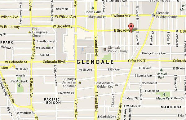 Map shows location of where two men assaulted a homeless man in Glendale.