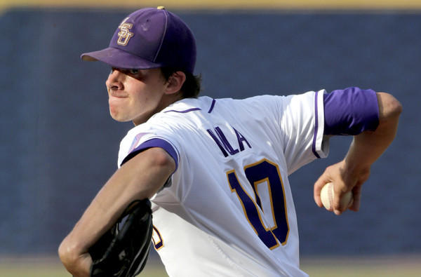 LSU ace Aaron Nola, who is 12-0 with a 1.68 earned-run average, threw a two-hit shutout against Oklahoma in the Super Regional opener.