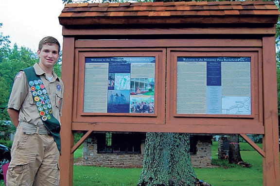 Boy Scout Will Manning, 15, made a sign with information about the Battle of Monterey Pass for visitors to the battlefield site in Washington Township, Pa. The Waynesboro, Pa.-area resident took on the community service project as part of the requirements to become an Eagle Scout.