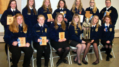 Award winners of the five FFA chapters in Somerset County were recognized May 16 during the annual Somerset County FFA Association banquet at the Berlin Community Building. They are from left, front row: Kelli Kinsinger, SCTC; Nicole Mitchell, Somerset; Brianna Hoyman, Meyersdale; Courtney Brant, Meyersdale; Katelin Michael, Meyersdale; and Brittany Arnold, Meyersdale. Back row: Madeline Buss, Somerset; Julia Hay, Somerset; Jill Svonvec, Somerset; Paige Stahl, Somerset; Catherine Metzgar, Berlin; Sierra Struky, Meyersdale; and Max Howard, Berlin.