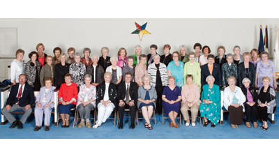 The OES Trinity Chapter 138 100th anniversary was celebrated this spring. From left, front row are: David Williams, Eleanor Sprock, Joyce Brant, Janet Fisher, Hazel Hillegas, William Johnston Jr., Ruth Ann Campagna, Shirley Glessner, Nancy Czernecki, Jacqueline Brougher, Agnes Mimna, Shirley Eppley and Janet Lee Hay. Second row: Bonnie Lanids, Nerita Brant, Betty Kendall, Linda McClintock, Beverly Johns, Dorothy Moore, Evelyn Walters, Germaine Ankeny, Marian Walker, Roberta Antram, Janice Henry, Betty Sue Johnston, Shirley Williams, Violet Lloyd, Mildred Shaffer and S. Jean Ferguson. Back row: Jeanne Hillegas, Donna Thompson, Leoma Stern, Betty Dull, Ethel Rayman, Sylvia Barron, Marian Schrock, Phyllis Hoppert, Katherine Kight, Isabell Eschrich, Constance Hillegass, Edna Mae McNelly, Peggy Blair, Suzanne Walker and Bonnie Ray.