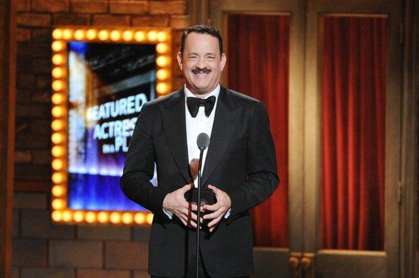 Tom Hanks, who later lost in his category, presents the Tony for actress in a featured role.