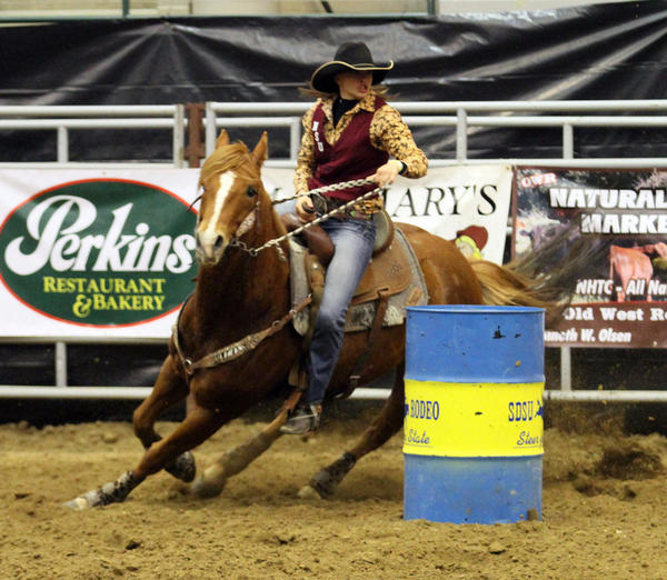 Northern State's Calley Worth of Gettysburg and her horse, Lily, will be competing in the barrel racing during the College National Finals Rodeo in Casper, Wyo., this week. Action begins this morning