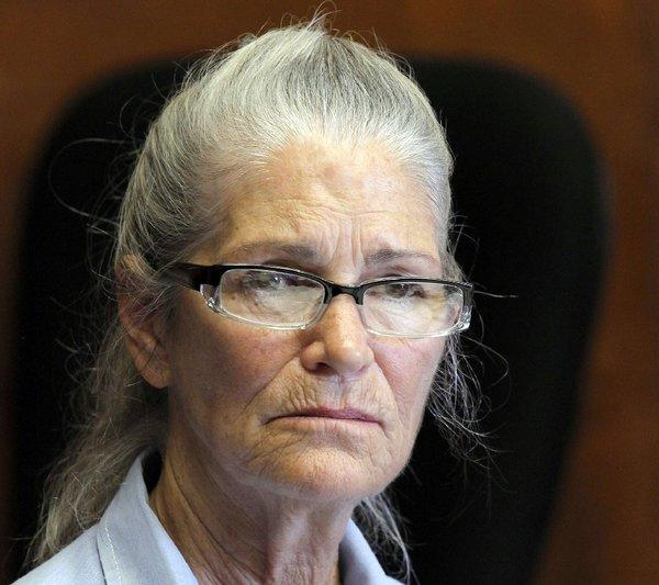 "Leslie Van Houten, the youngest of the ""Manson Family"" murderers, appears at her 20th parole hearing last week. Parole board members denied her bid; she is eligible for parole again in 2018."
