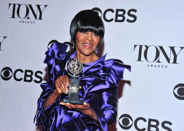 "Cicely Tyson with her Tony Award for best actress in a drama for ""A Trip to Bountiful."""