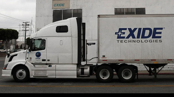 An Exide truck waits for traffic at in Vernon, Calif., in April.