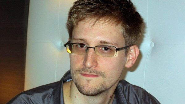 NSA whistleblower Edward Snowden is pictured during an interview in his hotel room in Hong Kong on Sunday.
