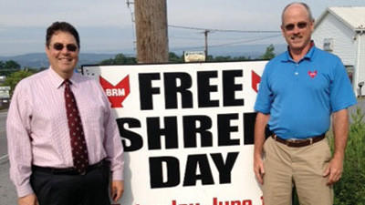 Sam Carpenter of Carpenter Financial Services and Jim Kirschman of Business Records Management are planning a free community shredding event.