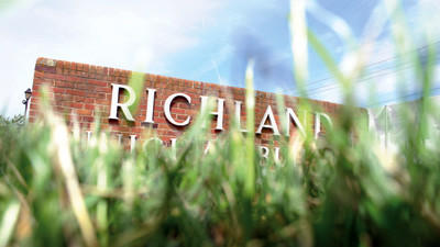 The sign marking Richland Townships Municipal Building, where supervisors discussed ending lawn trimmings pick-up.