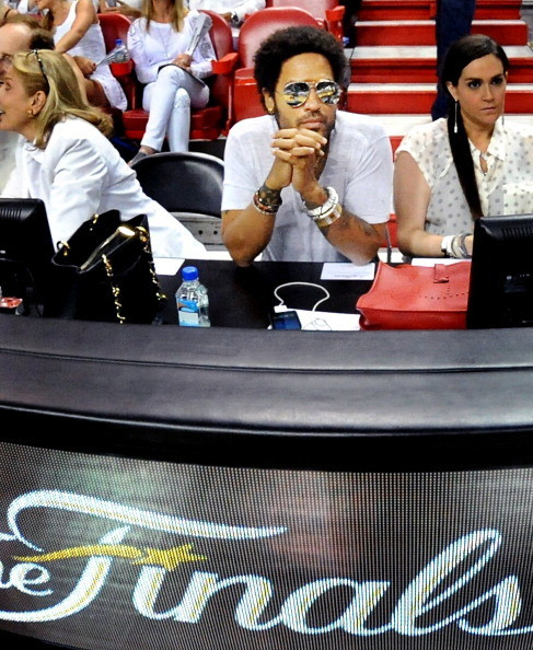 Celebs spotted at Miami Heat games - Musician Lenny Kravitz