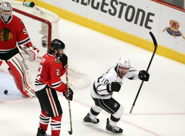 The Kings' Mike Richards celebrates his game-tying goal with 9.4 seconds to play in Game 5 of the Western Conference finals against Chicago.
