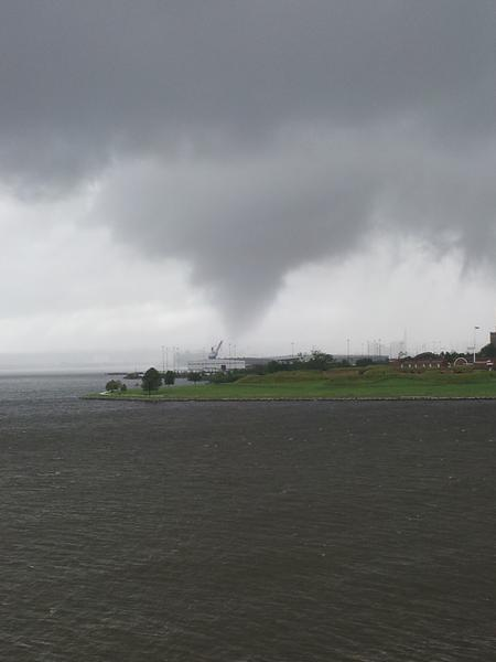 A reader-shared image of a funnel cloud near Brooklyn.