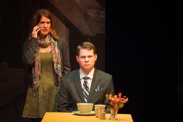 "Alina Phelan and Trent Dawson in ""Dead Man's Cell Phone"" at International City Theatre."
