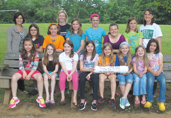 Girl Scouts from troops 40169 amd 40708 recently buried a time capsule. Front row, Lauren Barnes, Rylie Cataldo, Evelynn McGivney, Gina Gabianelli, Norah Keller, Ava Selby, Reagan Cataldo and Leah Peersen. Standing, Leader Fran Gabianelli, Lindsey Sparkman, Sarah Peersen, Leader Jen Keller, Reagan Pheulpin, Rachel Peersen, Kayla Ashby, Erin Bryce and leader Shawn Bryce.