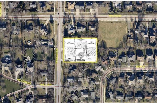 An aerial view of the proposed three single-family development at 1435 Pfingsten Road in Northbrook.
