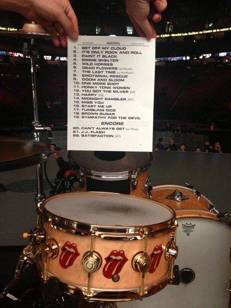 The set list for the Rolling Stones' Montreal concert, including a guest turn by Win Butler of Arcade Fire.