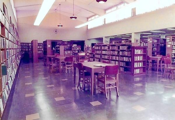 Interior of the Huntington Beach Public Library on Triangle Park circa the 1960s.