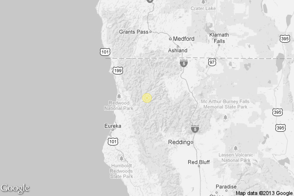 A map showing the location of the epicenter of Monday afternoon's quake near Willow Creek, California.