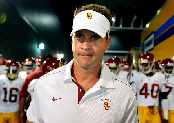 USC Coach Lane Kiffin offered a scholarship to a 13-year-old quarterback a few years ago.