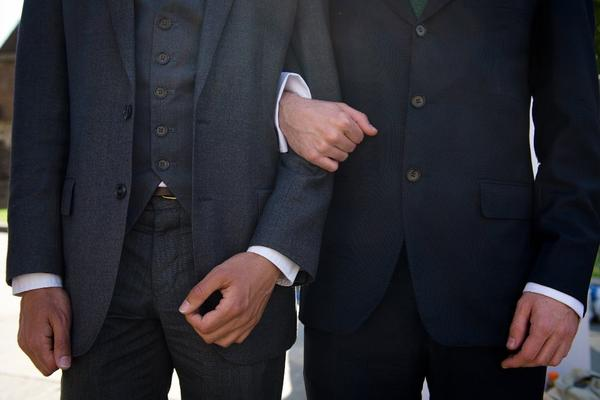 Men at a British rally for gay marriage.