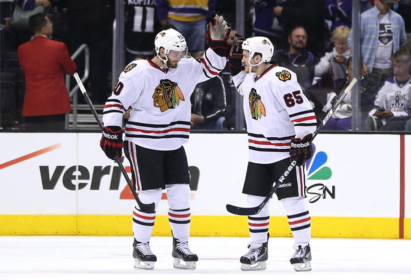 Brandon Saad, left, and Andrew Shaw are among the Blackhawks players who weren't there for the 2010 Stanley Cup title.