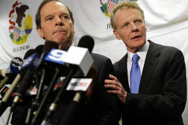 Senate President John Cullerton, D-Chicago, and House Speaker Michael Madigan, D-Chicago, from left, assure reporters there is no bad blood between them and Gov. Pat Quinn.