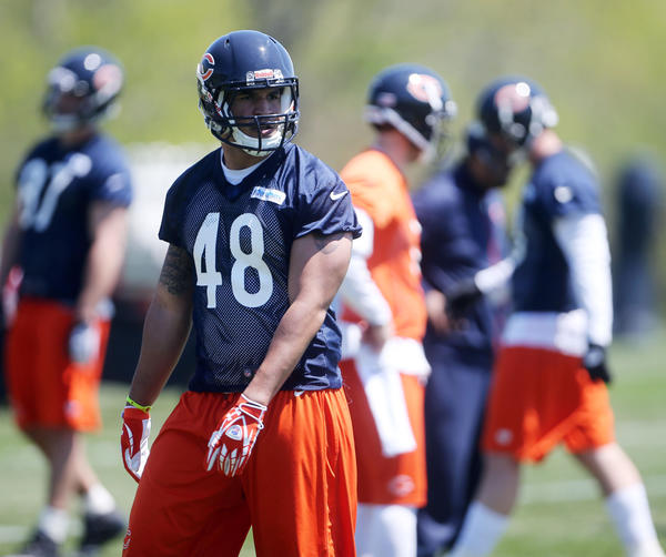 The Bears have parted ways with fullback/tight end Evan Rodriguez.