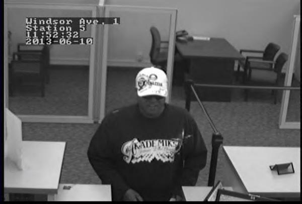 Surveillance photo of the suspect in Monday's Sovereign Bank robbery in Windsor.