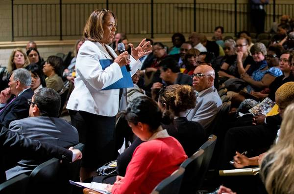 "Chicago Public Schools CEO Barbara Byrd-Bennett answers questions from the audience Monday after a presentation of her comprehensive five-year education plan, called ""The Next Generation: Chicago's Children,"" at Westinghouse College Prep."