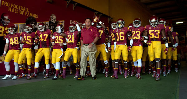USC Trojans walk through the tunnel to the field last season.