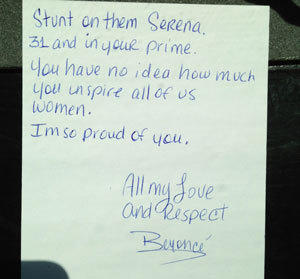 Beyonce posted this letter to Serena Williams on her website.