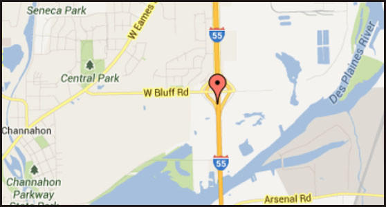 Map of location where a man was killed on Interstate 55 near Channohan.