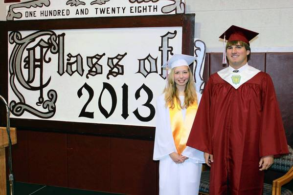 Tia Rex, left, is the salutatorian and Jacen Nalesnik, right, is the valedictorian of the Class of 2013 of Lehighton Area High School.