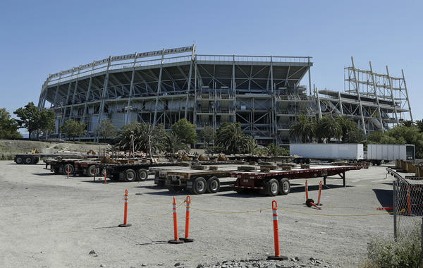 The exterior of the new San Francisco 49ers football stadium under construction in Santa Clara.