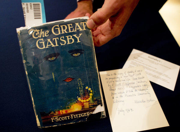"""The first edition of """"The Great Gatsby"""" by F. Scott Fitzgerald being auctioned by Sotheby's."""